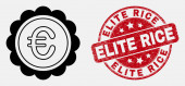 Vector Line Euro Award Icon and Scratched Elite Rice Stamp Seal