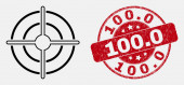 Vector Contour Bullseye Icon and Distress 1000 Watermark