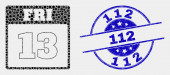 Vector Dot 13Th Friday Calendar Page Icon and Scratched 112 Watermark