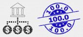 Vector Dotted Bank Hierarchy Icon and Distress 1000 Seal