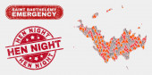 Wildfire and Emergency Collage of Saint Barthelemy Map and Scratched Hen Night Stamp