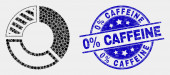 Vector Pixel Pie Chart Icon and Scratched 0 percent Caffeine Seal