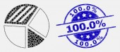 Vector Pixelated Pie Chart Icon and Grunge 1000 percent Stamp Seal