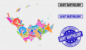 Composition of Service Saint Barthelemy Map and Quality Product Stamp Seal