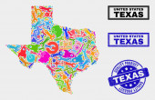 Composition of Tools Texas State Map and Quality Product Stamp
