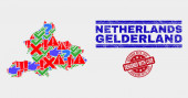 Collage of Gelderland Province Map Sign Mosaic and Distress Designed with Love Watermark