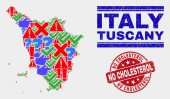 Composition of Tuscany Region Map Symbol Mosaic and Grunge No Cholesterol Seal