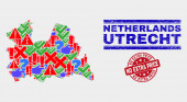 Collage of Utrecht Province Map Sign Mosaic and Scratched No Extra Price Stamp Seal