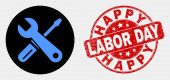 Vector Repair Tools Icon and Grunge Happy Labor Day Stamp Seal