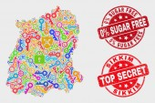 Composition of Safeguard Sikkim State Map and Distress 0 Percent Sugar Free Stamp