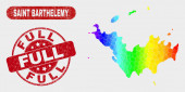 Spectral Mosaic Saint Barthelemy Map and Grunge Full Stamp
