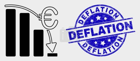 Illustration for Vector euro crisis chart pictogram and Deflation seal. Red rounded scratched seal with Deflation text. Vector combination in flat style. Black isolated euro crisis chart pictogram. - Royalty Free Image
