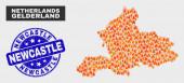Wildfire Mosaic Gelderland Province Map and Grunge Newcastle Seal
