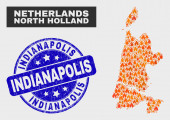 Wildfire Mosaic North Holland Map and Grunge Indianapolis Seal