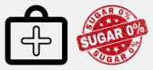 Vector Outline First-Aid Case Icon and Distress Sugar 0 Percent Seal