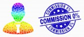 Vector Bright Pixelated Manager Icon and Distress Commission 0 Percent Stamp Seal