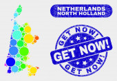 Bright Mosaic North Holland Map and Distress Get Now Exclamation Watermark