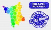 Spectral Mosaic Roraima State Map and Distress From Only Dollar 1 Per Month Stamp