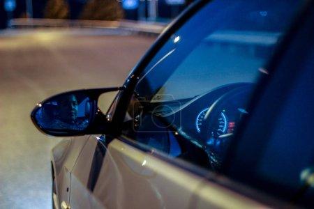 German BMW car in the evening on a winding mountai...
