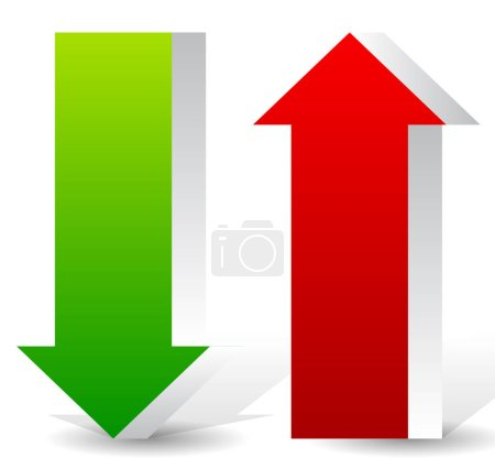 Photo pour Illustration vectorielle EPS 10 3d flèches haut et bas - image libre de droit