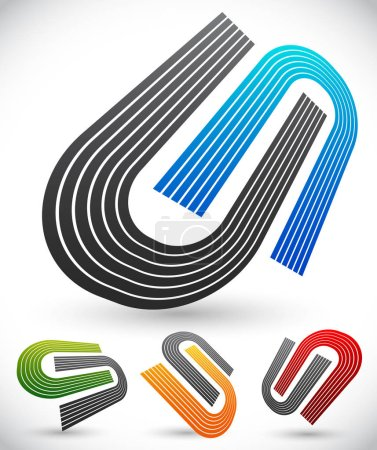 Interlocking colorful U shapes. Generic icons, design elements. Four versions.