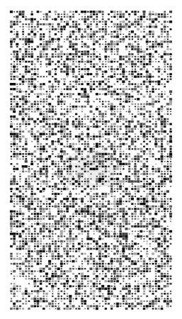 Illustration for Random squares mosaic pattern. Pixelated, fragmentation halftone design. Random distribution square shapes. Irregular array, grid, mesh. Matrix of random quadrangles - Royalty Free Image