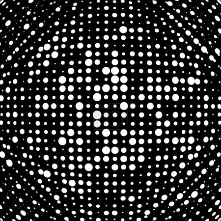 Illustration for Half-tone dots. Dotted, circles pattern. Sphere, orb or globe distortion speckles. Diffuse radial, radiating bulge, bloat warp. Polka-dot inflate design. Abstract circles circular geometric pattern - Royalty Free Image