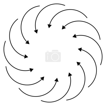 Illustration for Inward circular, radial arrows for tighten, collision, collide themes. Collapse,  denture cursor illustration. Diminish, merge concept pointer element - Royalty Free Image