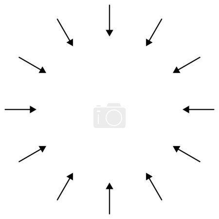 Illustration for Inward circular, radial arrows for tighten, collision, collide themes. Collapse,  denture cursor illustration. Diminish, merge pointer element - Royalty Free Image