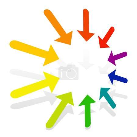 Illustration for Radial, concentric arrows pointing to center, inside. Merge, resize, supress concepts pointer illustration. Diminish, confluence cursor design - Royalty Free Image