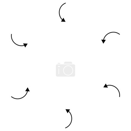 Illustration for Inward circular, radial arrows for tighten, collision and collide themes. Collapse,  denture cursor illustration. Diminish, merge concept pointer element - Royalty Free Image