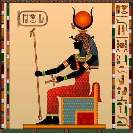 Illustration pour Religion de l'Egypte ancienne. Hathor est la déesse de l'amour, le ciel, la beauté et l'art. Ancienne déesse égyptienne Hathor sous la forme d'une femme sur le trône. Illustration vectorielle . - image libre de droit
