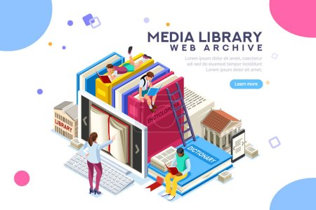 Illustration for Dictionary, library of encyclopedia or web archive. Technology and literature, digital culture on media library. Clipart sticker icon for web banner. Flat isometric people images, vector illustration. - Royalty Free Image