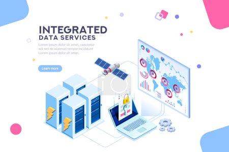 Illustration pour Station énergétique du futur. matériel de centre de données mondial, réseau de serveur électronique pour les solutions logicielles pour partager des informations sur le réseau numérique. technologie Ethernet. Illustration isométrique plate vecteur - image libre de droit