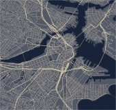 vector map of the city of Boston USA