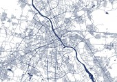 Map of the city of Warsaw Poland