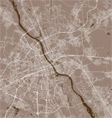 Vector map of the city of Warsaw Poland