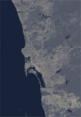 map of the city of San Diego California USA