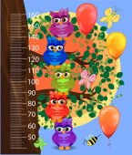 Kids height meter with cute owls Funny stadiometer from 50 to 160 centimeter