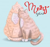 Two cats with an inscription I have for you Moore the concept of love romantic love Valentine's Day