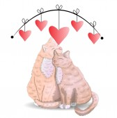 Two cats the concept of love romantic love Valentine's Day