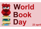 World book day Smart owl on stack of books open book and lettering on teal background