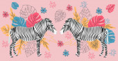 Hand drawn colorful zebra with flowers Monstera a bouquet Sca