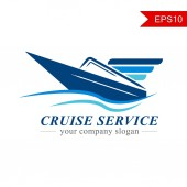 Cruise ship logo vector Naval express delivery business and post service for company Design graphic and slogan can insert for advertising and broadcast for Tourist guide information