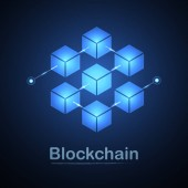 Blockchain technology fintech cryptocurrency block chain server abstract background Linked block contain cryptography hash and transaction data New futuristic system technology Vector illustration