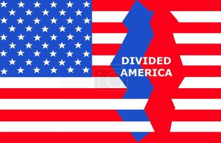 Photo pour Amérique divisée Drapeau des États-Unis d'Amérique montrant la division politique dans ce pays  . - image libre de droit