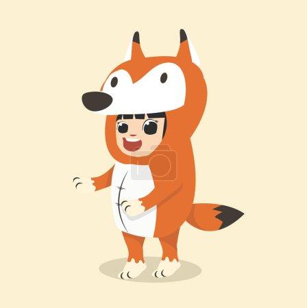 Illustration pour Petits personnages d'enfant en costume de renard - image libre de droit