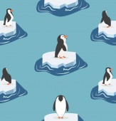 Cute penguins on a piece of iceberg pattern