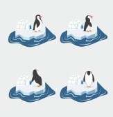 Cute penguins on a piece of iceberg set
