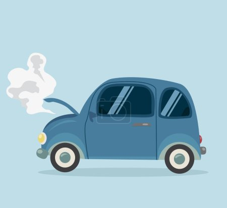 Illustration for Breakdown Mini Car Flat styled - Royalty Free Image